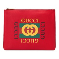 Gucci Print Leather Medium Portfolio Red