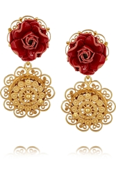 Dolce And Gabbana Sacro Cuore Gold Plated Patent Leather Clip Earrings