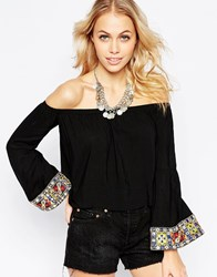 Kiss The Sky Eat Pray Love Off The Shoulder Top With Embroidered Cuffs Black