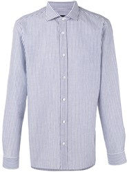 Z Zegna Striped Shirt Men Cotton Linen Flax 44 Blue