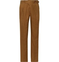 Rubinacci Manny Tapered Pleated Linen Trousers Brown