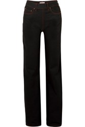 Palm Angels High Rise Straight Leg Jeans Black