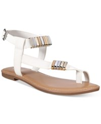 Bar Iii Verna Flat Sandals Only At Macy's Women's Shoes White
