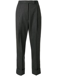 Thom Browne Chalk Stripe Twill High Waist Trouser Grey