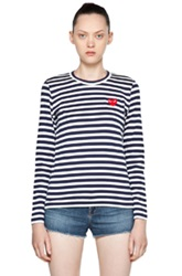 Comme Des Garcons Play Stripe Red Heart Tee In Stripes Blue