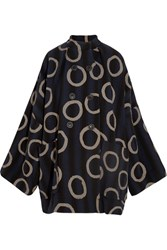 Vivienne Westwood Anglomania Joan Printed Cotton Blend Coat Navy
