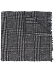 Hackett Plaid Raw Edge Scarf Grey