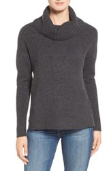 Caslon Cozy Rib Detail Relaxed Turtleneck Heather Charcoal