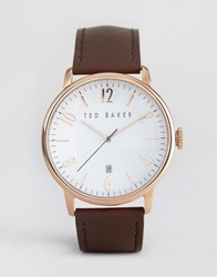 Ted Baker Classic Brown Leather Watch With Rose Gold Dial Brown