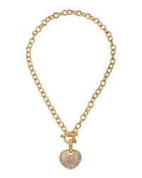 Emily And Ashley Pave Crystal Heart Link Necklace Gold