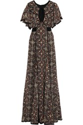 Talitha Raj Cutout Printed Silk Georgette Maxi Dress Black
