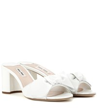 Miu Miu Patent Leather Slip On Sandals White