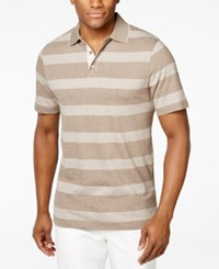 Tasso Elba Men's Striped Tipped Polo Only At Macy's Taupe Heather
