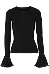 Alexander Wang Embellished Lace Trimmed Stretch Knit Sweater Black