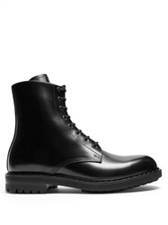 Alexander Mcqueen High Top Leather Ankle Boots Black