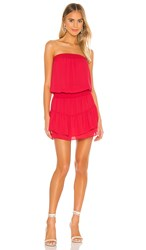 Krisa Smocked Strapless Mini Dress In Red. Flirt