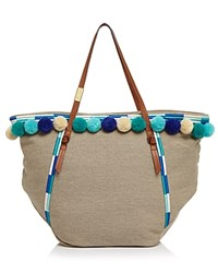 Foley Corinna And Coconut Island Beach Tote Beige Blue Multi Gold