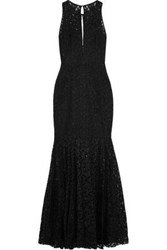Milly Joan Fluted Cutout Lace Gown Black