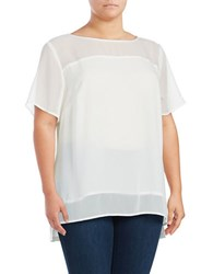 Jones New York Plus Roundneck Short Sleeve Hi Lo Blouse White