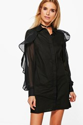 Boohoo Elodie Ruffle Sleeved Woven Shirt Dress Black