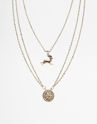 Asos Neck Chain With Coin Pendant Gold