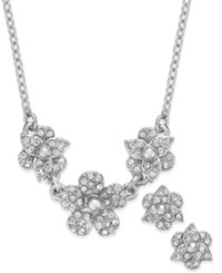 Charter Club Crystal Pave Flower Pendant Necklace And Matching Stud Earrings Set Only At Macy's Silver