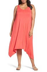 Sejour Plus Size Women's Jersey Sharkbite Hem Tank Dress Coral Chic