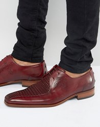Jeffery West Scarface Center Weave Derby Shoes Red