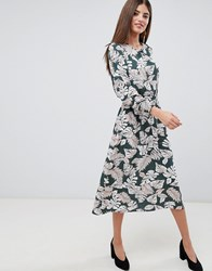 Ax Paris Palm Print Midi Dress With Ruched Waist Green