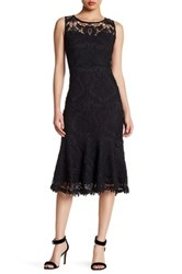 Champagne And Strawberry Sleeveless Lace Cocktail Dress Black