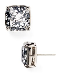 Kate Spade New York Small Square Glitter Stud Earrings Silver Glitter