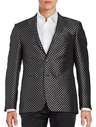 Calvin Klein Classic Fit Diamond Medallion Sportcoat Black Silver