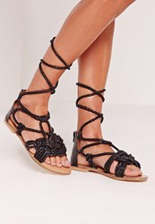 Missguided Real Leather Pleated Strap Lace Up Flat Sandals Black Black
