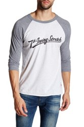 7Th Inning Stretch Logo Graphic Three Quarter Baseball Tee Gray