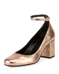 Saint Laurent Babies Metallic 70Mm Ankle Wrap Pump Blush Or Pale
