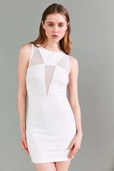 Rare London Mesh Panel Bodycon Mini Dress White