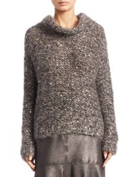 Brunello Cucinelli Mohair Cowlneck Sweater Charcoal