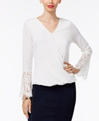 Thalia Sodi Lace Sleeve Faux Wrap Top Only At Macy's Washed White