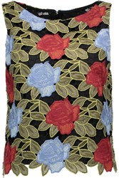 Alice Olivia Amal Cropped Floral Crochet Top Multi