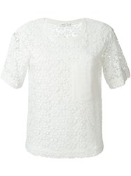 A.L.C. Flower Embroidered Shortsleeved Top White