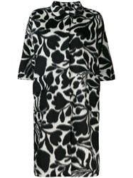 Sara Lanzi Graphic Print Midi Coat Black