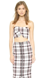 Nicholas Woven Check Crop Top Grey Check