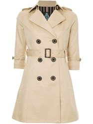 Guild Prime Cropped Sleeve Trench Coat Brown