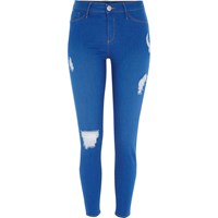 River Island Womens Bright Blue Ripped Going Out Jeggings