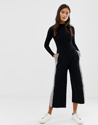 Amy Lynn Wide Leg Cropped Trouser With Lace Panel Black