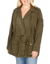 Lucky Brand Plus Military Utility Jacket Military Olive