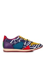Burberry Book Cover Print Leather Trainers Purple