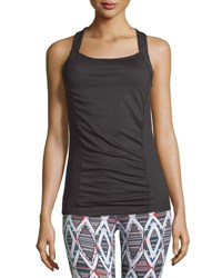 Soybu Alecia Ruched Crisscross Tank Black