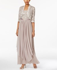 R And M Richards Sequined Lace Belted Gown And Jacket Champagne