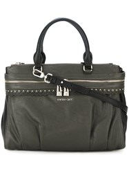 Twin Set Double Zipped Large Tote Green